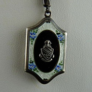 Sterling Silver and Guilloche Enamel Locket with Crest