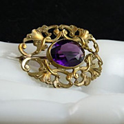 Victorian Gilt Brass Pin Brooch with Amethyst Glass Stone