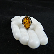 Vintage Sterling and Amber Modernist Ring