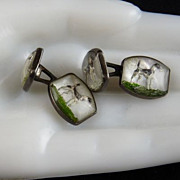 Vintage Reverse Carved Cufflinks Dogs Sterling Silver