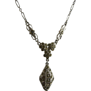 Art Deco Sterling Silver and Paste Drop Necklace