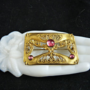 Art Nouveau Sash Pin Gilt Brass and Pink Glass Stones