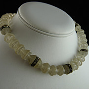 Vintage Art Deco Camphor Glass Bead Choker Necklace