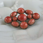 Vintage Brooch with Faux Coral Cabochons