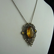 Art Deco Filigree Amber Glass Pendant Necklace