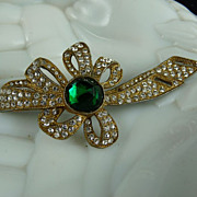 Large Art Deco Pot Metal and Rhinestone Bow Brooch