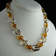 Art Deco Citrine Czech Glass Bead Necklace