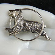 Vintage Sterling Silver Dog Pin Spaniel