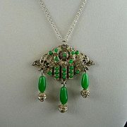 Art Deco Pot Metal Rhinestone Chrysoprase Glass Pendant Necklace