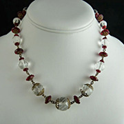 Czech Glass Bead Necklace Ruby Red and Clear Beads