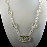 Vintage Clear Intaglio Glass Necklace