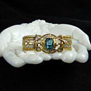 Art Deco Rhodium Filigree Bracelet Aqua Stone Gold Highlights