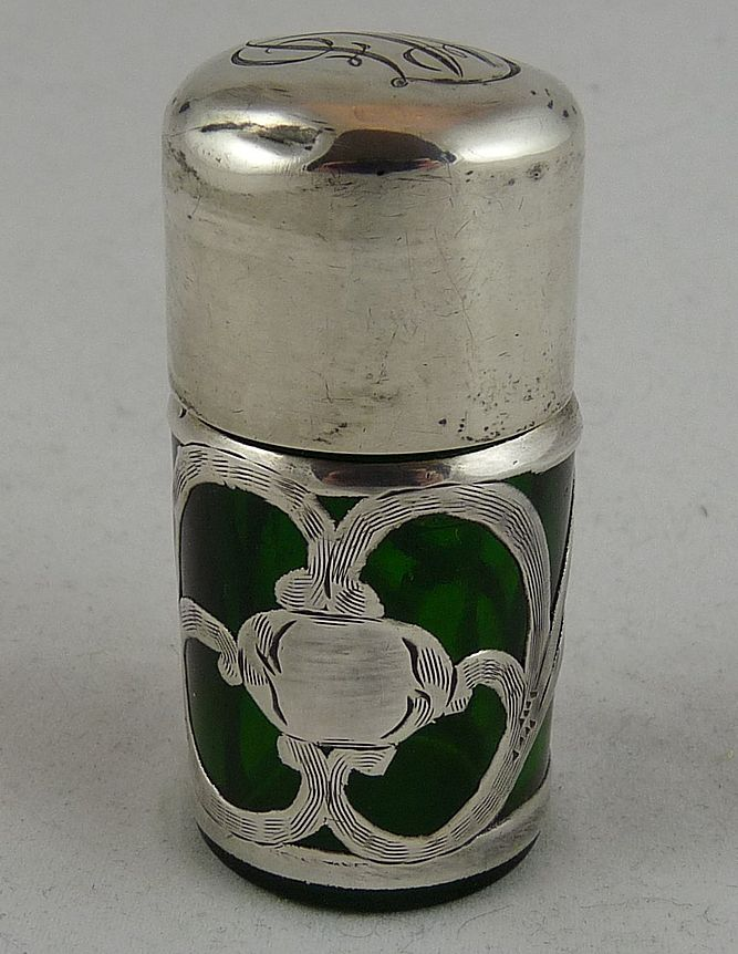 Sterling Silver Overlay Perfume or Salts Bottle Green Glass