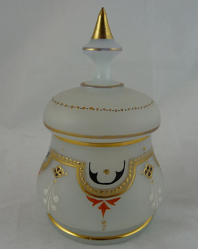 Beautiful Bristol Glass Vanity Jar with Enamel