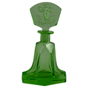 Art Deco Green Czech Glass Perfume Bottle with Intaglio Stopper