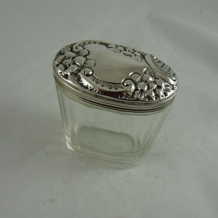 Antique Art Nouveau Cut Glass and Sterling Silver Vanity Jar