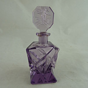 Art Deco Czech Perfume Bottle Amethyst Glass Intaglio Stopper