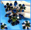 SALE Shades of Green & Blue Rhinestone Brooch & Earring Set