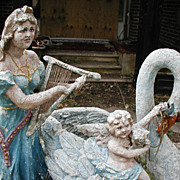 SALE Amazing Antique Concrete Folk Art Statue of Lady, Cherub, and Swan ~~~ A Statement ...