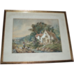 Charming Antique Country Cottage Garden Scene With Ducks Painting, Signed 1902