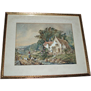 SALE Charming Antique Country Cottage Garden Scene With Ducks Painting, Signed 1902