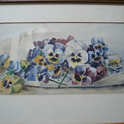 SALE Vintage Painting of Pansies