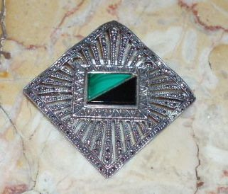 Gorgeous Vintage Sterling Silver and Marcasite Pin Brooch With Onyx and Malachite