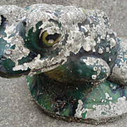 Antique Concrete Frog Fountain in Original Paint