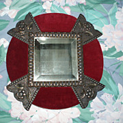 Antique Victorian Elaborate Wood Frame With Beveled Mirror