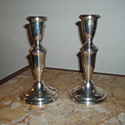 Vintage Pair of Empire Sterling Silver Candlesticks
