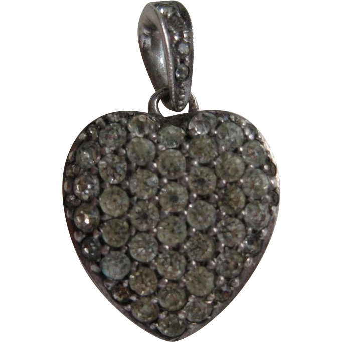 Vintage Sterling Crystal Pave Heart Pendant C Amp H Co From