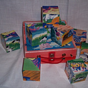 Vintage Storybook Wooden Block Puzzle Set of 9 Blocks