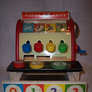 Vintage 1974 Fisher Price Cash Register with Three Original Coins