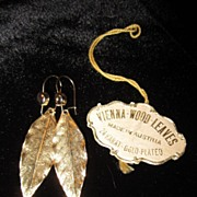 24K Gold Plated Vienna Wood Leaves Earrings Made In Austria