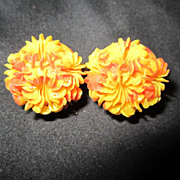 vintage YELLOW and ORANGE Thermoplastic clip on earrings