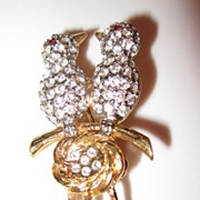 Vintage Rhinestone Double Bird Brooch Pin with Nest