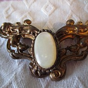 Art Nouveau Belt Buckle with Mother of Pearl