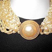 Gorgeous 18 Strand Faux Pearl CAROLEE vintage necklace