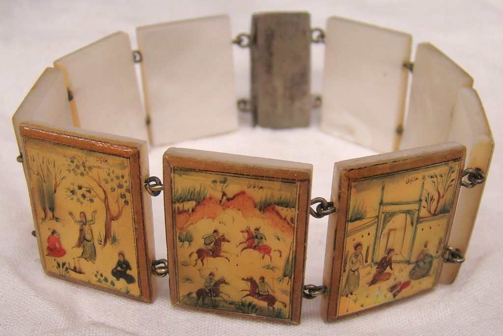 Vintage Persian hand painted Mother of Pearl Panel Bracelet