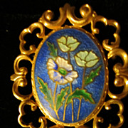 Vintage Enamel Flowers Goldtone Brooch Pin
