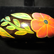 Vintage RETRO Hand Painted Wood Bangle Bracelet