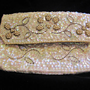 Vintage La Regale 1950's AB Sequin Envelope Clutch Purse GORGEOUS!
