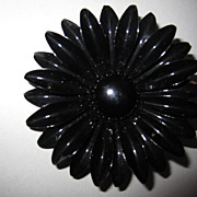 "HUGE 3"" Vintage Black Enamel Copper Flower Pin Brooch 1960's FLOWER POWER"