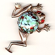 Rare MAZER Sterling Silver Frog Brooch Pin 1940's Jelly Belly