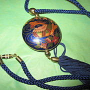 Vintage Navy Blue FRINGED Enamel Cloisonne Pendant Necklace