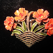 Unsigned Trifari Basket of Flowers VIVID ORANGE Rhinestones