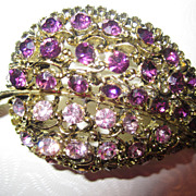 "Vintage ""shades of PURPLE"" Rhinestone Brooch Pin"