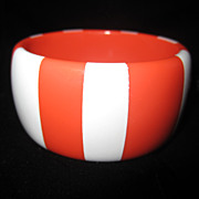 Vintage WIDE Lucite Bangle Bracelet Orange and White