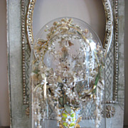 "Beautiful Ornate Glass dome with a vase ""Porcelain Vieux de Bruxelles"" with great wa"