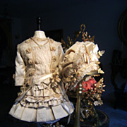 Gorgeous French Costume&Hat for Jumeau, Bru, Steiner, F.G. French antique Doll.